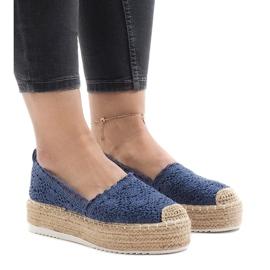 Blauwe sneakers espadrilles op platform 7801-P