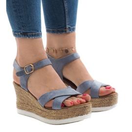 Blauwe sandalen op sleehak XL104