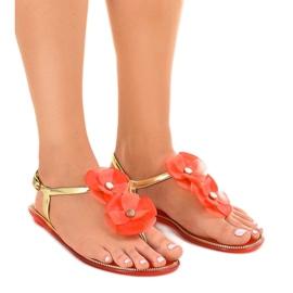 Geel Rode flip-flops met bloem KG19P