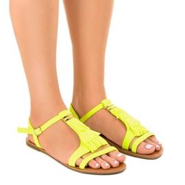 Gele platte sandalen met gesp WL137-1 geel