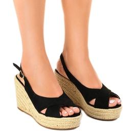 Zwarte sandalen op wiggen, espadrilles 68-150