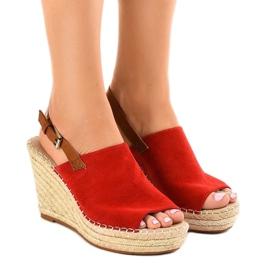Rood Rode sandalen sleehak met KA-20 espadrilles