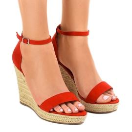 Rode sandalen op espadrilles met esp BD342 rood