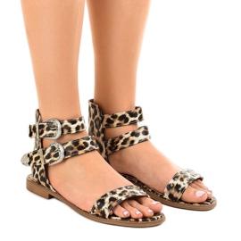 Leopard platte sandalen versierd met LL-122P