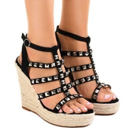 Zwarte sandalen op strowig 9529