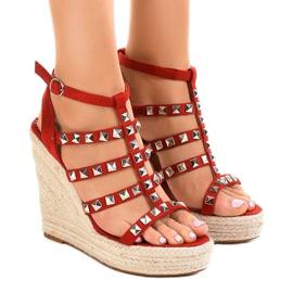 Rode sandalen op strowig 9529 rood