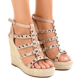 Beige sandalen op strowig 9529 bruin