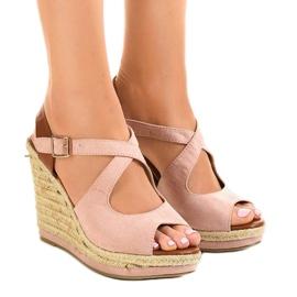 Roze sandalen op sleehakken LM-0205