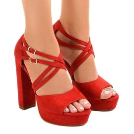 Rood Rode sandalen op de suede stiletto D09