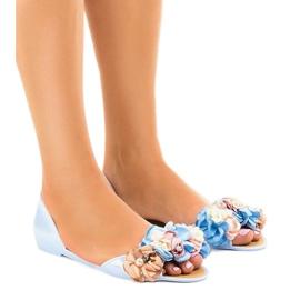 Blauwe meliski-sandalen met AE20-bloemen