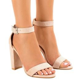 Bruin Beige sandalen op de paal met gesp 369-18