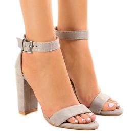 Grijs Grijze sandalen op de paal met gesp 369-18
