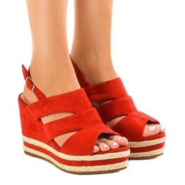 Rode espadrilles FG6 sleehak sandalen rood
