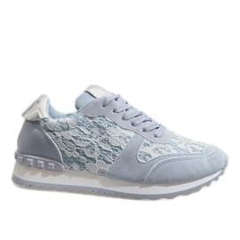 Blauwe sneakers met kant G-100