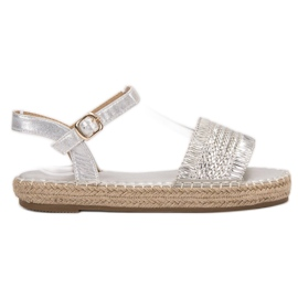 Small Swan grijs Espadrilles zilveren sandalen