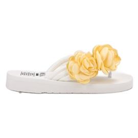 SHELOVET Lichte flip-flops met bloemen wit