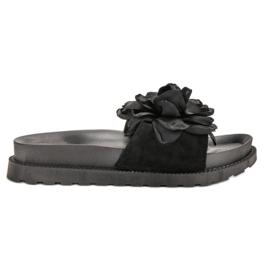 Queen Vivi zwart Suède Slippers met bloemen