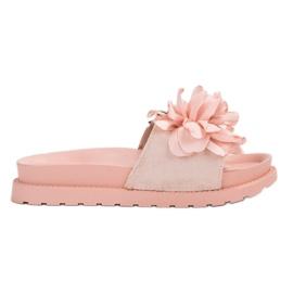 Queen Vivi roze Suède Slippers met bloemen