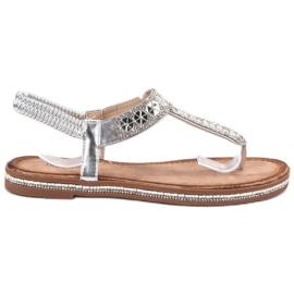 SHELOVET Zilveren sandalen grijs