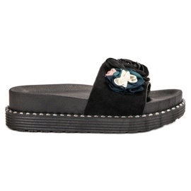 Bello Star zwart Slippers op het platform