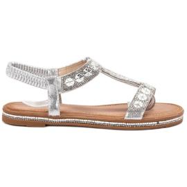 Bello Star grijs Versierde zilveren sandalen
