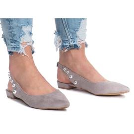 Grijs Grijze balletschoenen met studs van Marou