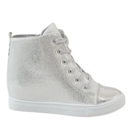 Grijs Zilveren sneakers op wedge 29333-2