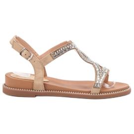 Bello Star Suede sandalen met kristallen bruin