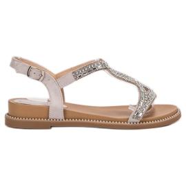 Bello Star grijs Suede sandalen met kristallen