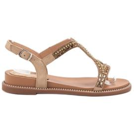 Bello Star bruin Suede sandalen met kristallen