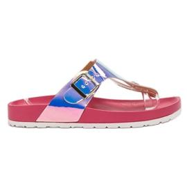 Ideal Shoes roze Flip-flops met holo-effect