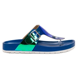 Ideal Shoes blauw Flip-flops met holo-effect