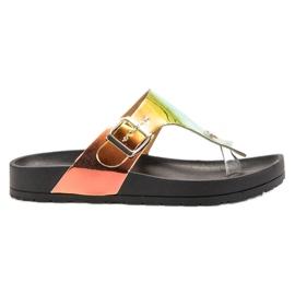 Ideal Shoes zwart Flip-flops met holo-effect