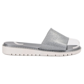 Fashion grijs Modieuze glanzende flip-flops