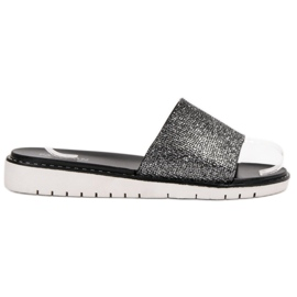 Fashion zwart Modieuze glanzende flip-flops
