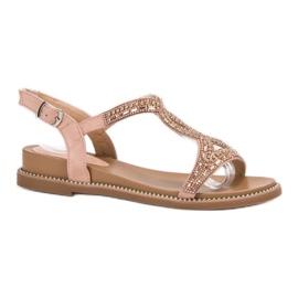 Bello Star roze Suede sandalen met kristallen