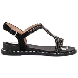 Bello Star zwart Suede sandalen met kristallen