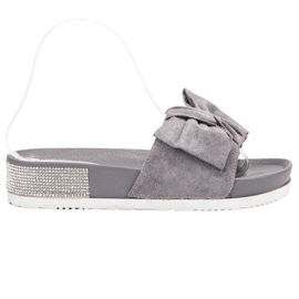 SHELOVET grijs Suède Slippers Met Zircons