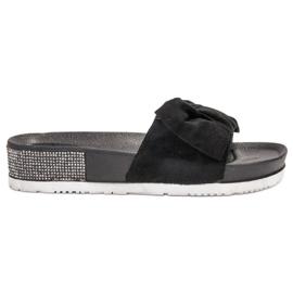 SHELOVET zwart Suède Slippers Met Zircons