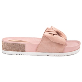 SHELOVET roze Suède Slippers Met Zircons