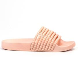 Bestelle roze Rubberen slippers met kralen