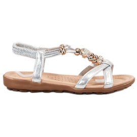 SHELOVET grijs Platte sandalen met decoraties