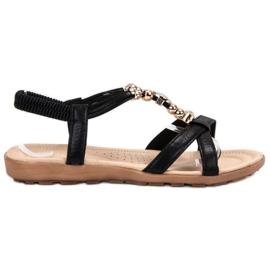 SHELOVET zwart Platte sandalen met decoraties