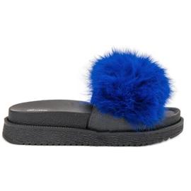 SHELOVET blauw Slippers met bont