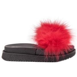 SHELOVET rood Slippers met bont