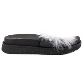 SHELOVET wit Slippers met bont