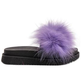 SHELOVET purper Slippers met bont