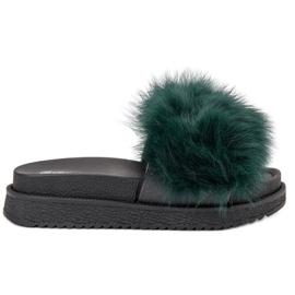 SHELOVET groen Slippers met bont