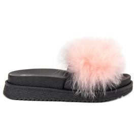 SHELOVET roze Slippers met bont