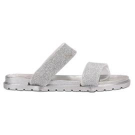 SHELOVET grijs Rubber flip met glitter